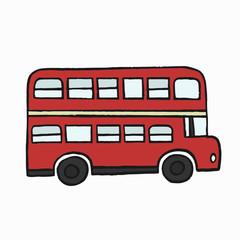 Red double-decker London bus illustration