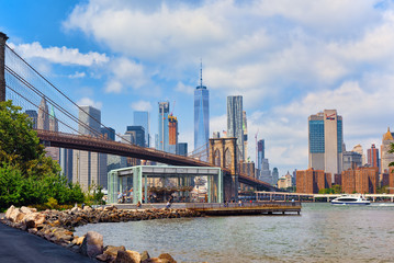 View on Jane's Carousel near Brooklyn Bridge between Manhattan and Brooklyn. USA.