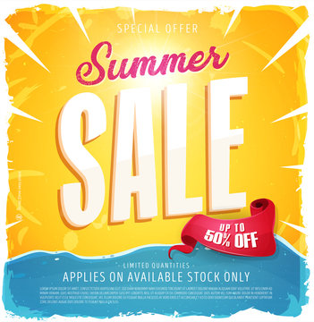 Hot Summer Sale Banner/ Illustration of a summer sale template banner with colorful elements, typography and grunge frame