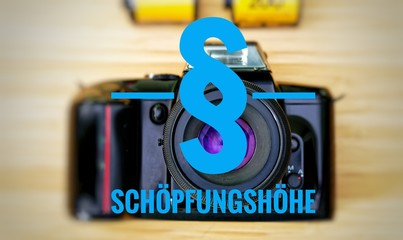 Camera with in german Schöpfungshöhe in english original authorship