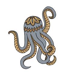 Purple octopus tangle pattern. Doodle water animals. Vector illustration.