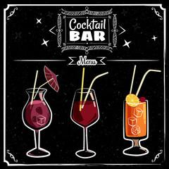 Retro poster design for cocktailbar. Vintage poster, chalk on a blackboard, card for bar or restaurant. Vector, isolated