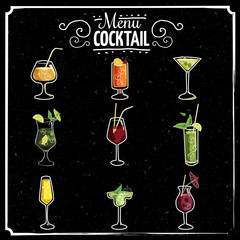 Set of beautiful illustration of some of the most famous Cocktails and Drink from all around the world, icon, vector illustration