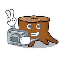 Photographer tree stump mascot cartoon