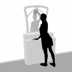 Template for illustration tidy the house. The dark silhouette of a young girl with a rag in her hands wipes the mirror on the dresser, in the mirror the silhouette of the female reflection