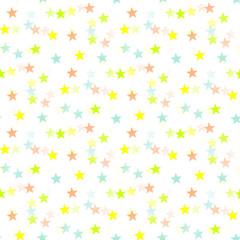 Colorful stars seamless pattern white background