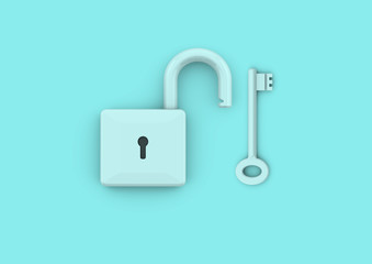 Lock and keys security and business success concept
