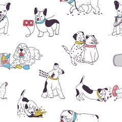 Seamless pattern with cute dogs demonstrating bad habits and behavior. Backdrop with naughty domestic animals, mischievous pets. Colorful hand drawn vector illustration for wrapping paper, wallpaper.