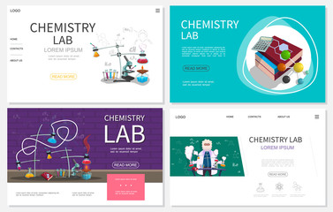 Flat Chemistry Laboratory Websites Set