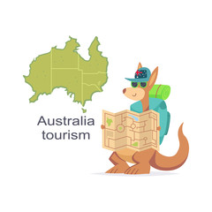 Australia tourism concept design. Kangaroo with map and backpack vector cartoon illustration isolated on white background.