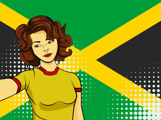 Asian woman taking selfie photo in front of national flag Jamaica in pop art style illustration. Element of sport fan illustration for mobile and web apps