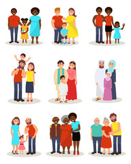 Happy families of different nationalities from different countries set, parents and their children in national and casual clothes stanfing together vector Illustrations