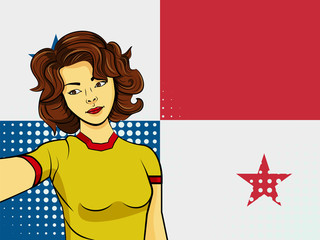 Asian woman taking selfie photo in front of national flag Panama in pop art style illustration. Element of sport fan illustration for mobile and web apps