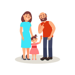 Smiling family couple and their little daughter, happy family concept vector Illustration on a white background