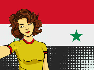 Asian woman taking selfie photo in front of national flag Syria in pop art style illustration. Element of sport fan illustration for mobile and web apps