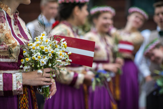 Song and dance festival in Latvia. Procession in Riga. Elements of ornaments and flowers. Latvia 100 years.