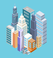 Buildings of Big City Poster Vector Illustration