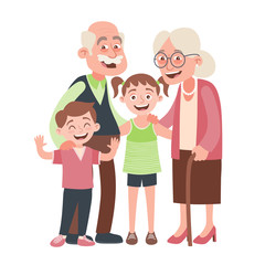 Grandparents, granddraughter and grandson portrait. Happy grandparents day concept. Vector illustration in cartoon style, isolated on white background.