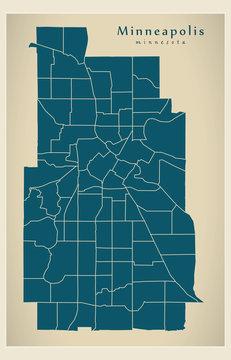Modern City Map - Minneapolis Minnesota city of the USA with neighborhoods