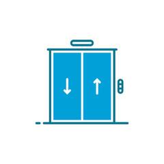 blue simple hotel or hostel elevator icon