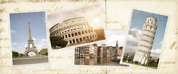 Vintage travel background with retro photos of european landmarks