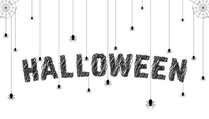 sketch text with spider like happy halloween