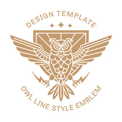 Owl in a linear style against the backdrop of a shield with lightning in the paws - emblem, logo, print design
