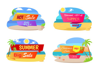 Summer Hot Sale Labels Set Tropical Beach, Palm Trees