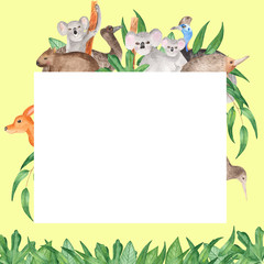 Watercolor card with Australian animals. A sweet invitation to a children's show, a zoo party, a children's birthday.
