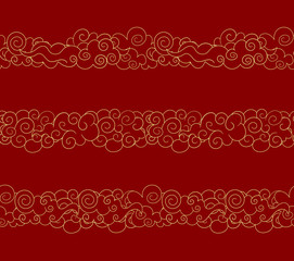 Vector Seamless Oriental Clouds, Golden Lines, Traditional Style Design Elements Set.