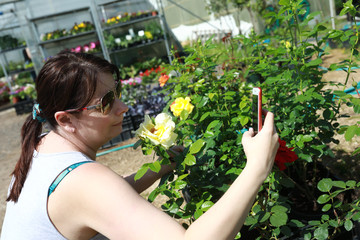 Woman makes selfie among the flowers