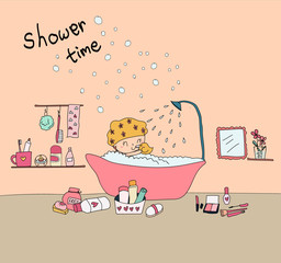doodle hand drawn happy girl take shower in bathtub with shower equipment in bath room