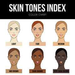 Skin color index infographic in vector. Beautiful woman face with different color skin tones chart. Info-graphic vector types skin. Level of different color skin type.