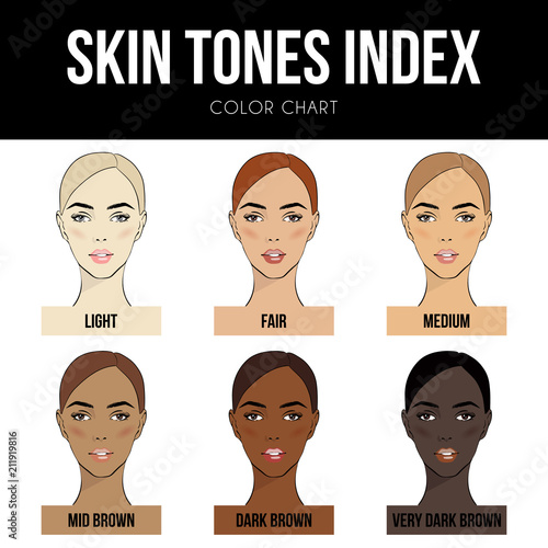 Skin Color Index Infographic In Vector Beautiful Woman Face With Diffe Tones Chart Info Graphic Types Level Of