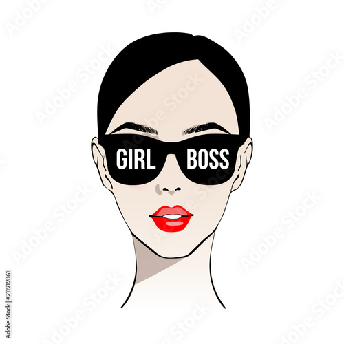 1bf0b4f2f214 Girl boss. Fashion girl with red lips in sunglasses girl boss. Beautiful  brunette woman face vector illustration. Stylish original graphics portrait  with ...