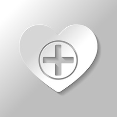 Heart and medical cross. Simple icon. Paper style with shadow on