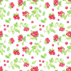 Hand drawn watercolor cowberry seamless pattern