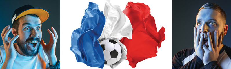The collage about emotions of football fans of France teem and flag isolated on white background