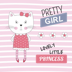 Lovely princess cat on pink background.