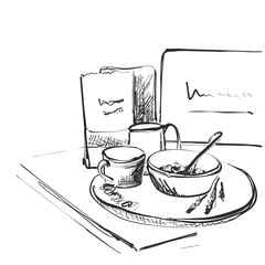 sketch breakfast. Plate of porridge and cup of coffee near computer