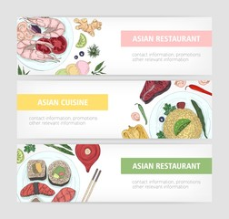 Collection of web banner templates with tasty traditional meals of Asian cuisine lying on plates and place for text on white background. Colored hand drawn vector illustration for restaurant promo.