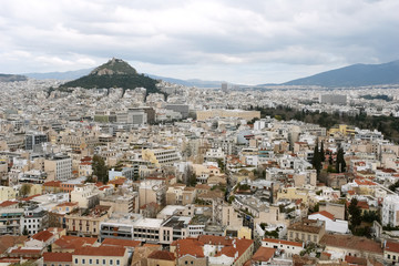 Panoramic view of Athens and Lycabettus Hill in spring.