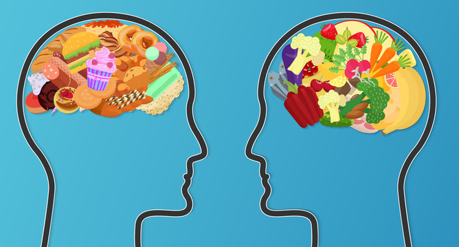 Vector Unhealthy junk food and healthy diet comparison. Food brain modern concept.