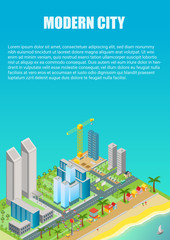 Isometric vector of city map with modern buildings and beach area with amusement park. Advertisment poster template.
