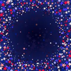 Red blue stars flying stars confetti.