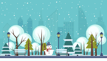 Winter public city park vector illustration.
