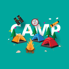 camping background with green and camp, camp fire, for print, poster, banner etc.