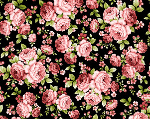 Rose flower pattern with little beautiful seamless element