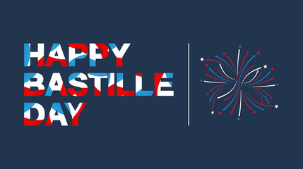 Happy Bastille Day banner lettering in French flag color. Vector illustration.