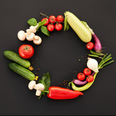 Perfect Vegetables on the Black Background